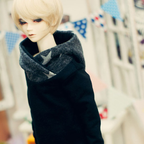 SD13 Boy Turtleneck Hooded T - Black