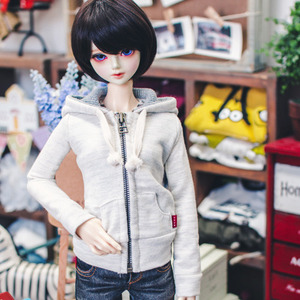 SD13 Girl Basic Zipup Hooded T - Oatmeal