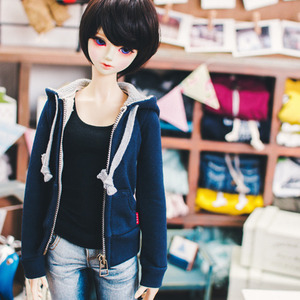SD13 Girl Basic Zipup Hooded T - Navy