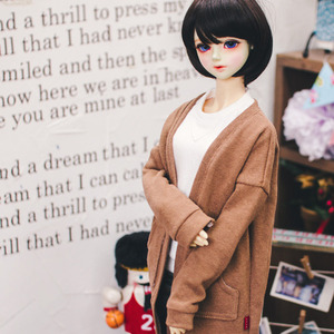 SD13 Girl Natural Deep Slit Long Cardigan - Brown