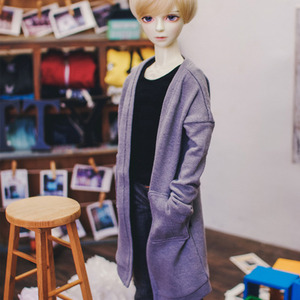 SD13 Boy Natural Deep Slit Long Cardigan - Gray