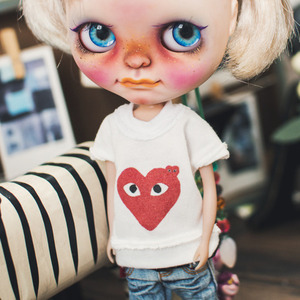 Blythe Be Funny Heart T shirt - White