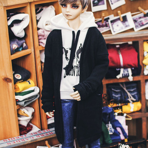 SD17 Boy Natural Deep Slit Long Cardigan - Black