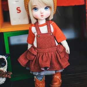 Cotton Skirts Overall - Red Brown