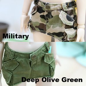 MSD Washing Cotton Skirt - Military & Deep Olive Green