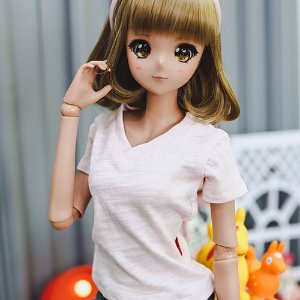 SD13 Girl & Smart Doll Vneck Basic T shirt - Pink