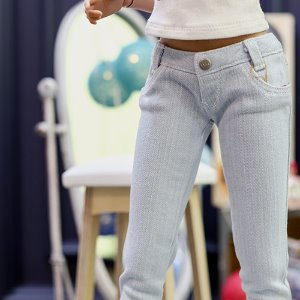 SD13 Girl & Smart Doll Stone Washing Real Skinny Jeans - Sky Blue