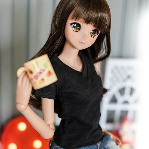 SD13 Girl & Smart Doll Vneck Basic T shirt - Black